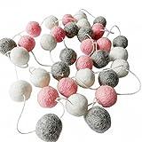 #7: CC Shop Kids Bedroom Wool Felt Balls Ornament Pom Pom Garland Baby Shower Decorations (White&Pink&Grey)