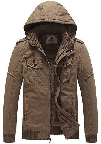 WenVen Men's Casual Thick Winter Hooded Coat (Khaki,US S)