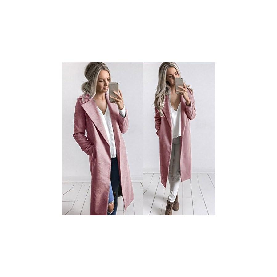 Vovotrade Women Solid Windbreaker Open Front Cardigan Winter Warm Coat Turn down Collar Long Trench Parka Casual Overcoat