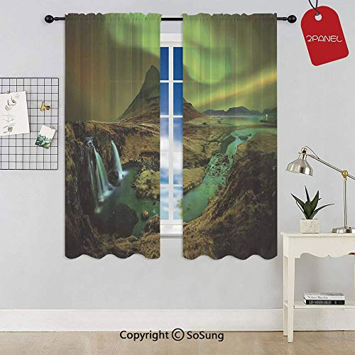 Pale Weather over the Hills with Waterfall Creek Nature Landscape Rod Pocket Sheer Voile Window Curtain Panels for Kids Room,Kitchen,Living Room & Bedroom,2 Panels,Each 42x54 Inch,Fern and Olive gree Cold Water Creek Eyelet
