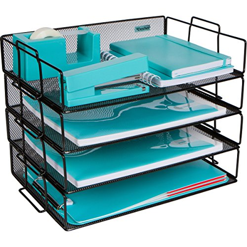 Stackable Paper Tray Desk Organizer - 4 Tier Metal Mesh Letter Organizers for Business, Home, School, Stores and More, Organize Files, Folders, Letters, Paper, Binders