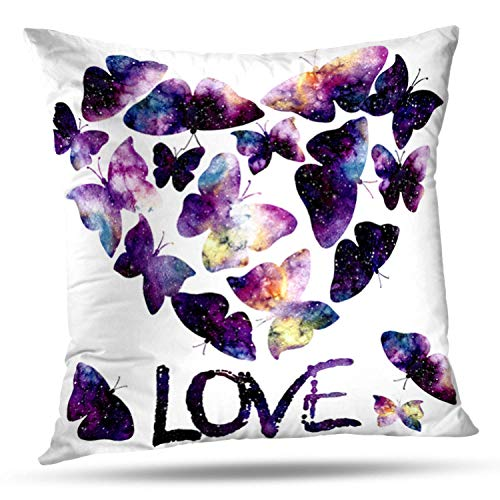 Lshtar Throw Pillow Covers, Watercolor Starry Sky Flying Butterflies Heart Word Love Butterfly for Sofa Cushion CoverShort Plush Design Decoration Home Bed Pillowcase 18x18 inch ()