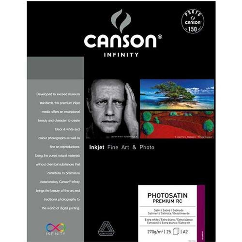 Canson Infinity PhotoSatin Premium RC 270gsm, semi-Glossy White Inkjet Paper, A3+, Box of 25 Sheets