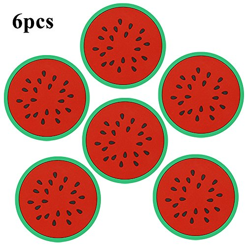 SHZONS™6pcs/Pack Anti-Slip Drink Cup Placemat Mat Silicone Fruits Slices Coasters Holder For Coffee and Wine Lovers Gift Worthy(Watermelon)