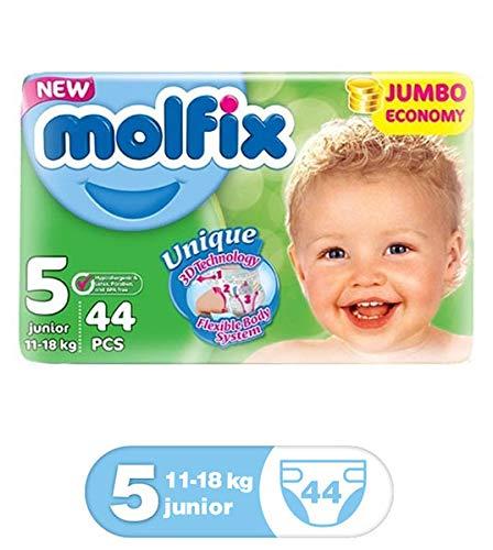 molfix Junior/Jumbo bajo Pack de 44 Pañales 11 - 18 kg Tamaño 5 ...