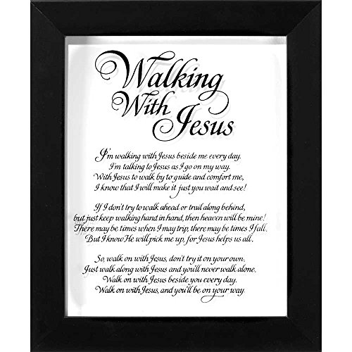 Walking With Jesus Calligraphy Glass 10 x 8 Wood Framed Wall Sign - Plaque Framed Glass