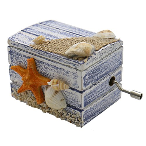 (HUELE Wooden Music Box Hand Crank Mediterranean Musical Box Player Castle in the Sky Blue)