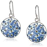 flower pressed earrings - Sterling Silver Blue Pressed Flower Circle Drop Earrings
