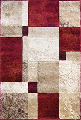 ADGO Atlantic Collection Modern Abstract Geometric Soft Pile Contemporary Carpet Thick Plush Stain Fade Resistant Easy Clean Bedroom Living Dining Room Floor Rug (3' x 5', 6326BR - Red Tan Ivory) ()