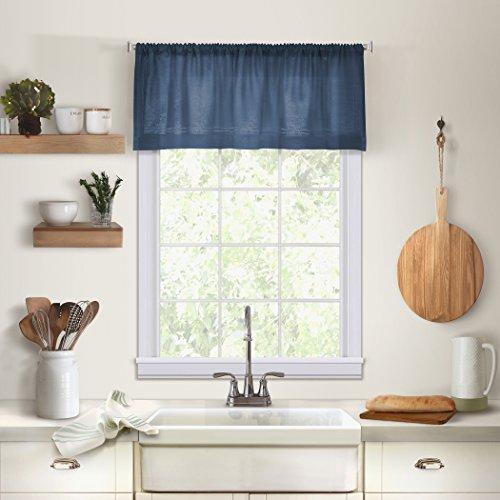 "Elrene Home Fashions 026865885323 Cameron Kitchen Valance,Indigo,60"" X 15"""