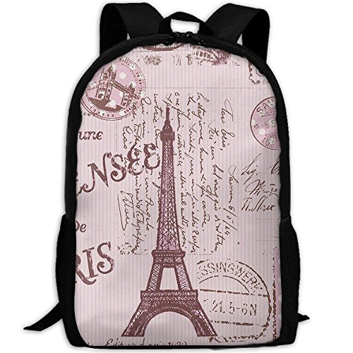 Pink Paris Stamps Pattern Fashion Outdoor Shoulders Bag Durable Travel Camping Backpack For Adult