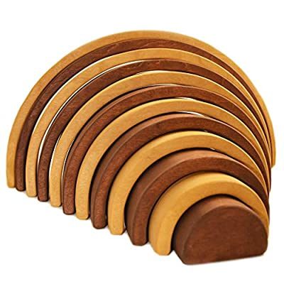 Wooden rainbow stacking game Montessori baby Waldorf baby toys Rainbow stacker Wooden rainbow stacker nesting puzzle blocks Rainbow stacking game Sorting 12 Pcs pieces Extra Large (Brown 12 Pcs): Toys & Games