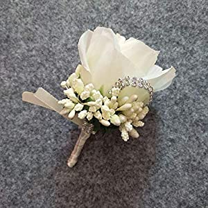ShineBear 1PCS Ivory Red Best Man Corsage for Groom Groomsman Silk Rose Flower Wedding Suit Boutonnieres Accessories pin Brooch Decoration - (Color: Ivory) 106