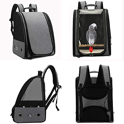 Gatycallaty Bird Carrier Backpack Travel Parrot Bag Cage with Perch Stand for Parakeets Cockatiels Birdcage Vet Car Airlines Airplane Plane Approved Mesh Breathable Lightweight Conure Finches (Black)