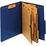 [IN]PLACE Moisture Resistant Classification Folders, Letter, 2 Dividers with Pockets, Dark Blue, 10/BX