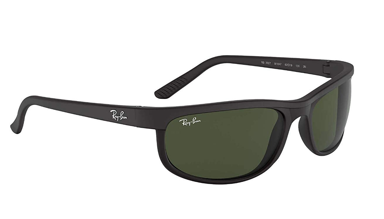 Ray-Ban RB2027 Predator 2 Sunglasses Matte Black w/Crystal Green (W1847) 2027 W1847 62mm Authentic