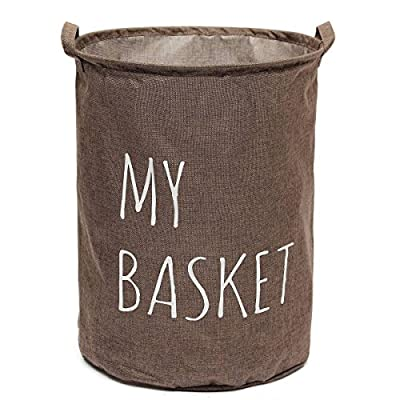 KINGSO 20 x 17 Inch Foldable Round Laundry Basket Hamper Storage Bag, Coffee - ♥Material: Cotton &Linen Fabric ♥Color:Grey/Coffee/Green ♥Height: 50cm/19.68in - laundry-room, hampers-baskets, entryway-laundry-room - 51ZM O8P4LL. SS400  -