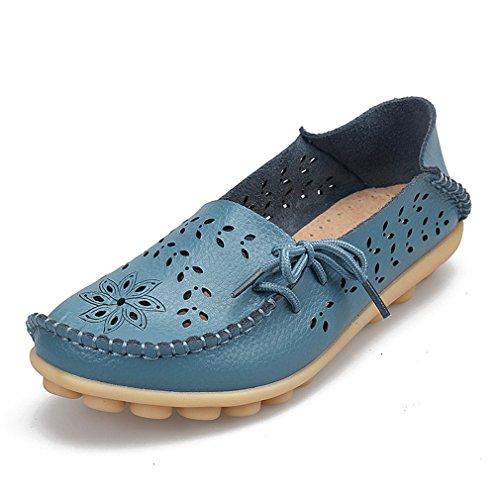 Bridfa Zapatos de mujer de cuero genuino de mujer Mocasines de mujer Slip-On pisos femeninos Mocasines Zapatos de conducción de damas recortes madre calzado Azul
