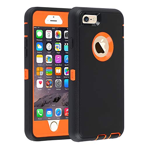 Co-Goldguard Case for iPhone 6s Plus/6 Plus [Not for 6/6s] ,Heavy Duty 3 in 1 Built-in Screen Protector Cover Dust-Proof Shockproof Drop-Proof Scratch-Resistant Shell for iPhone 6Plus/6sPlus 5.5inch,Black/Orange