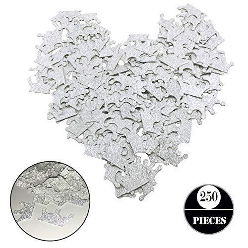 Silver Glitter Crown Confetti, Seasonsky 250 PCS Gold Crown Cupcake Toppers for Prince Baby Shower, Gender Reveal, Birthday Party, Wedding Party Supplies (Silver, Crown)