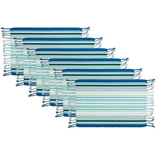 Fringe Placemats - DII CAMZ11155 Woven Cotton Placemat with Decorative Fringe for Spring, Summer, Outdoor Parties, Family Dinner, Weddings and Everyday Use, 13x19, Tidal Stripe