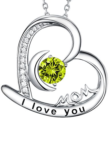 August Birthstone Necklace Green Peridot Jewelry Birthday Gifts I Love You Mom Necklace Sterling Silver Fine Jewelry