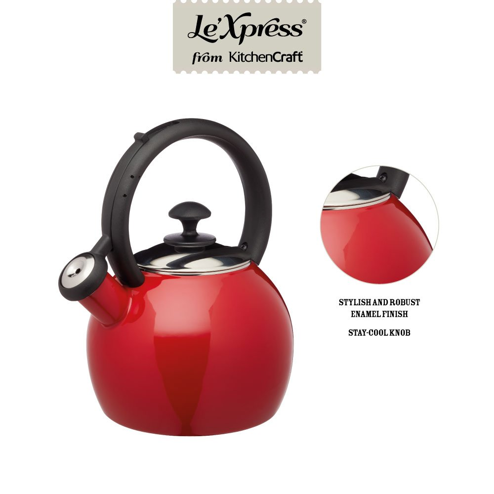 Kitchencraft Kclxketenred bouilloire sifflante Rouge//noir