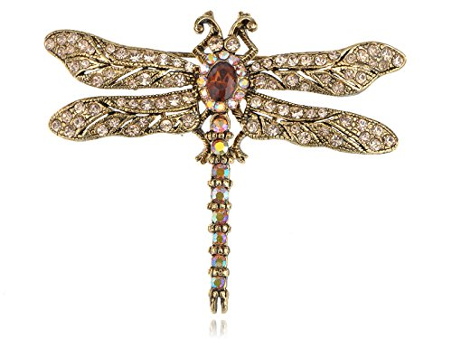 Alilang Golden Tone Light Topaz Crystal Rhinestones Dragonfly Insect Brooch ()