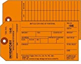 Inventory Tags, 1-Ply w/Tear off numbered Stub, Orange, 2 Sided, Box of 500, Plain, Sequence per factory