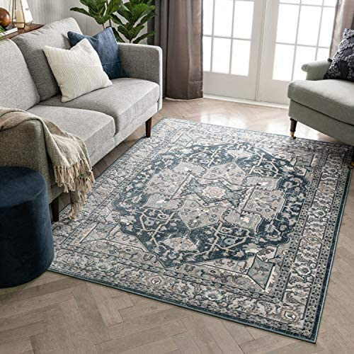 Well Woven Avril Blue Oriental Medallion Area Rug 8×10 7'10″ x 9'10″