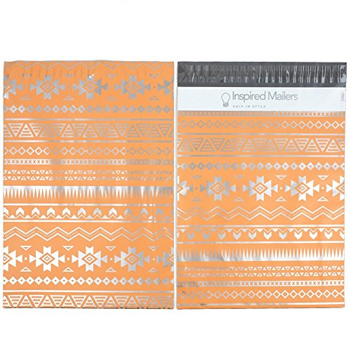 Inspired Mailers Poly Mailers 10x13 Deluxe Southwest Tribal Pattern – Pack of 100 – Unpadded Shipping Bags (Pink/Silver) by Inspired Mailers (Image #3)