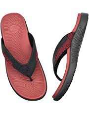 ONCAI Mens Flip Flops Comfort Beach Sport Athletic Soft Thong Sandals with Yoga Foam Arch Support Size 7-13