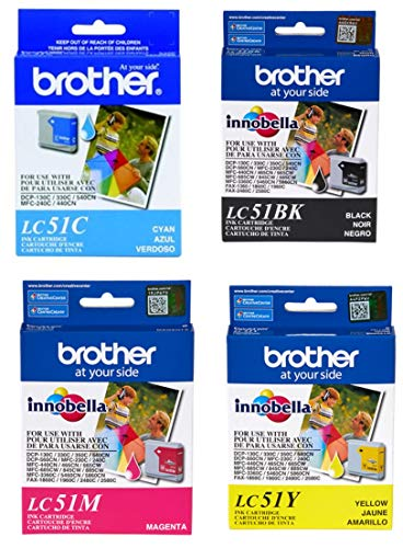 - Brother LC51 Ink Cartridge Set Black, Cyan, Magenta, Yellow for DCP-130C in retail packing