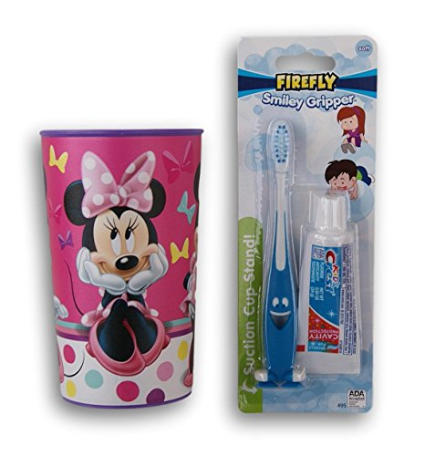 Minnie Mouse Tooth Brushing Kit - Toothbrush, Toothpaste, and Rinsing Cup