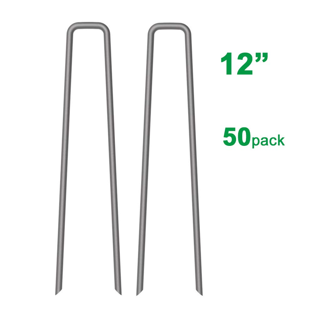 Mysit 50-Pack 12-inch Garden Stakes Lawn Ground Staples 11 Gauge Galvanized Steel Securing Tent Pegs Pins for Garden Weed Fabric Landscape Fabric Netting Ground Sheets GardenStake_W12_50_US