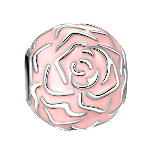 Syangpang 925 sterling silver charm forever fit for bracelet necklace jewelry rose enamel design bead by Syangpang