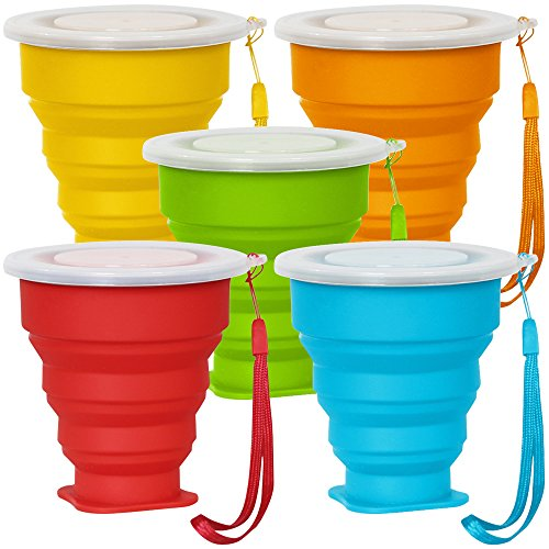 Price comparison product image 5 Pack Collapsible Travel Cup with Lid, 6Oz Silicone Foldable Drinking Mug, SENHAI BPA Free Retractable for Hiking Camping Picnic - Blue, Green, Yellow, Orange, Red