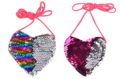 - 2 Pack Mini Sequin Heart Shaped Coin Purse Crossbody Pouch Bag for Little Girls