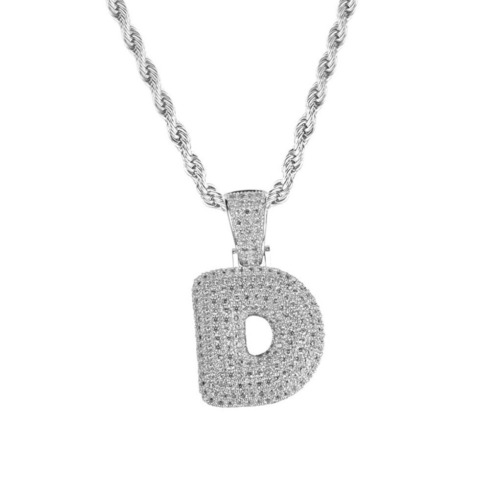 non-brand MagiDeal 18k Hip Hop 26-letter D Zircon Copper Pendant Twist Chain Necklace - Platinum