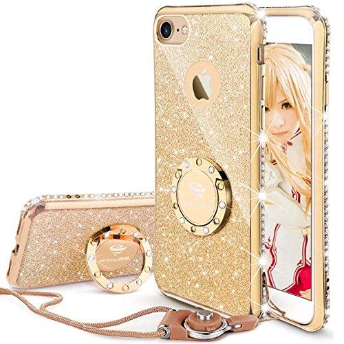 メディック顕著接続詞OCYCLONE iPhone7/iPhone8 適応 リング付きケース キラキラ かわいい おしゃれ ストラップ ラインストーン 人気女性女子用 アイフォン7/アイフォン8ケース 対応 耐衝撃 (ゴールド)
