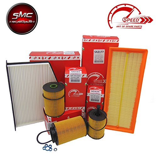 Kit of 4 filters for original speed by smc filters oil, air, fuel and cabin cabin (SO204, SA146, SRN248, SE1390):