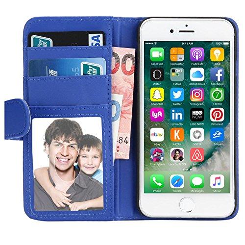 iPhone 7 Hülle, EnGive Ledertasche Schutzhülle Case Tasche mit Standfunktion und Karte Halter Für iPhone 7 (blau)