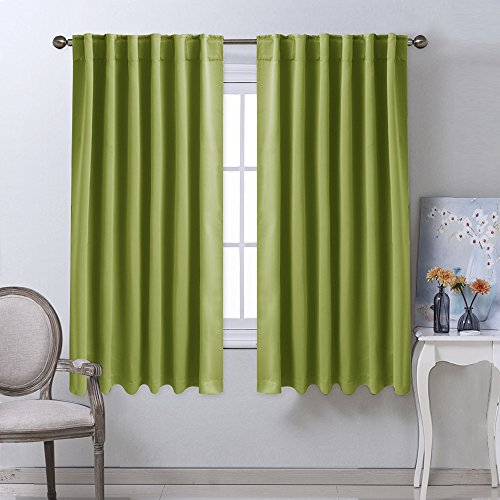 Bedroom Curtains Blackout Drapery Panels - (Grass Green Color) W52