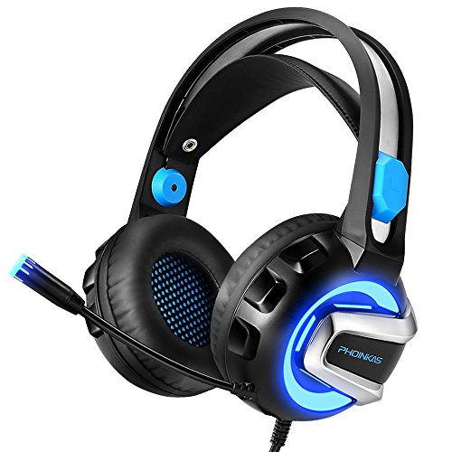 NiceWell Gaming Headset for PS4 Xbox One PC Game Headphone with LED Light, Stereo Sound, Noise-canceling Mic, Over-ear Soft Earmuffs and Adjustable Heanband
