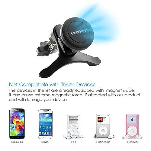 iVoler Supporto Magnetico Auto in metallo per il fessura di ventilazione con per agganciare, Supporto Auto Smartphone Porta Telefono per iPhone X / 8 / 8 Plus / 7 / 7 Plus / 6(s) / 6(s) Plus / SE / 5s