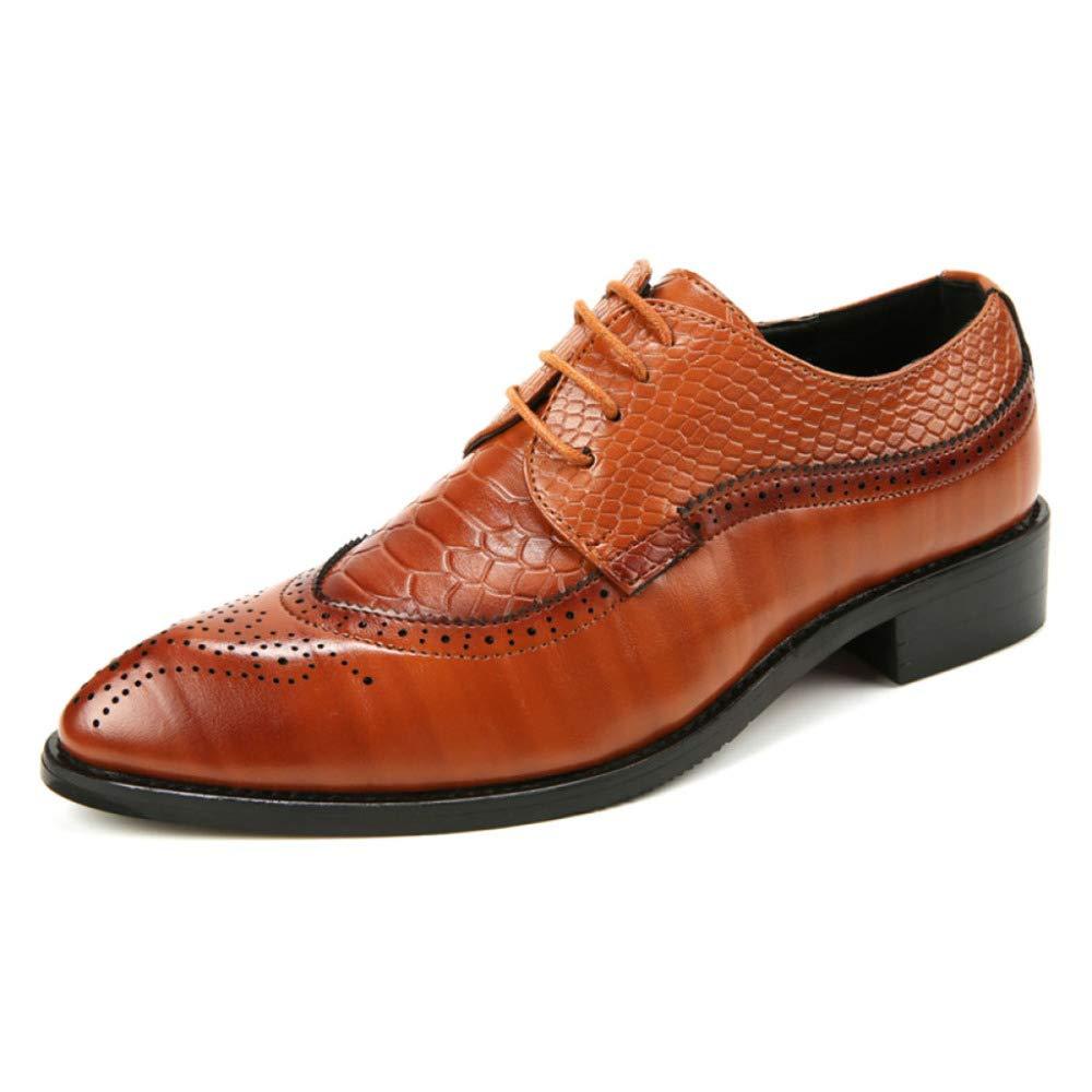 FCBDXN Herren Brogues Lederschuh Vintage Casual Schuhwerk Lace Ups Schuhe Wies Schuhwerk Casual Schuhe Geeignet Für Business Komfortable Atmungsaktive Interieur Braun 9fff4f