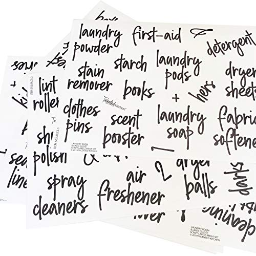 Laundry Room & Linen Closet Preprinted Script Labels, Organization Set. 141 Clear Stickers by Talented Kitchen. Water Resistant Labels to Organize & Declutter (Script Laundry Room & Linens 141 - Set Preprinted