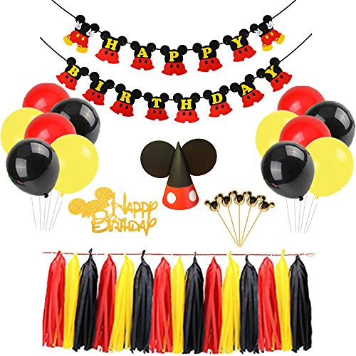 Mickey Mouse Happy Birthday Banner Decorations Kit, Mickey Mouse Banner Cupcake Cake Topper Hat for Baby Birthday Party Mickey Mouse Theme Party Supplies ()