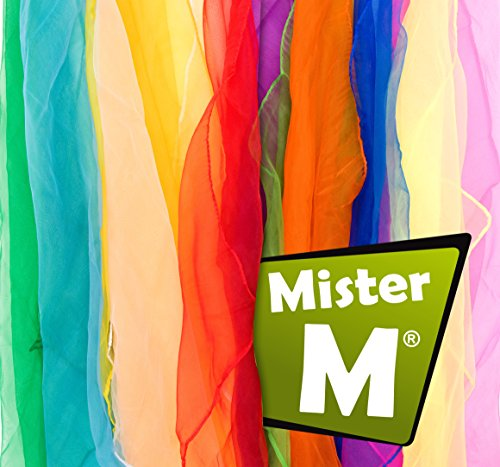 MRM Juggling / Dancing Scarves + Free Online Instructional Video by MisterM (12 Piece) - Juggling Scarves Set