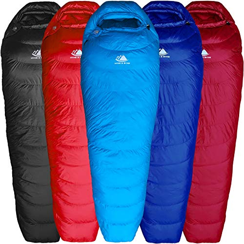 Hyke & Byke Shavano 32 Degree F 650 Fill Power Hydrophobic Down Sleeping Bag with ClusterLoft Base - Ultra Lightweight Men's and Women's Mummy Bag Designed for Summer Backpacking